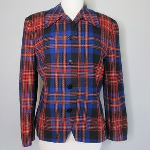 Pendleton Plaid Blue Red Black Virgin Wool Blazer